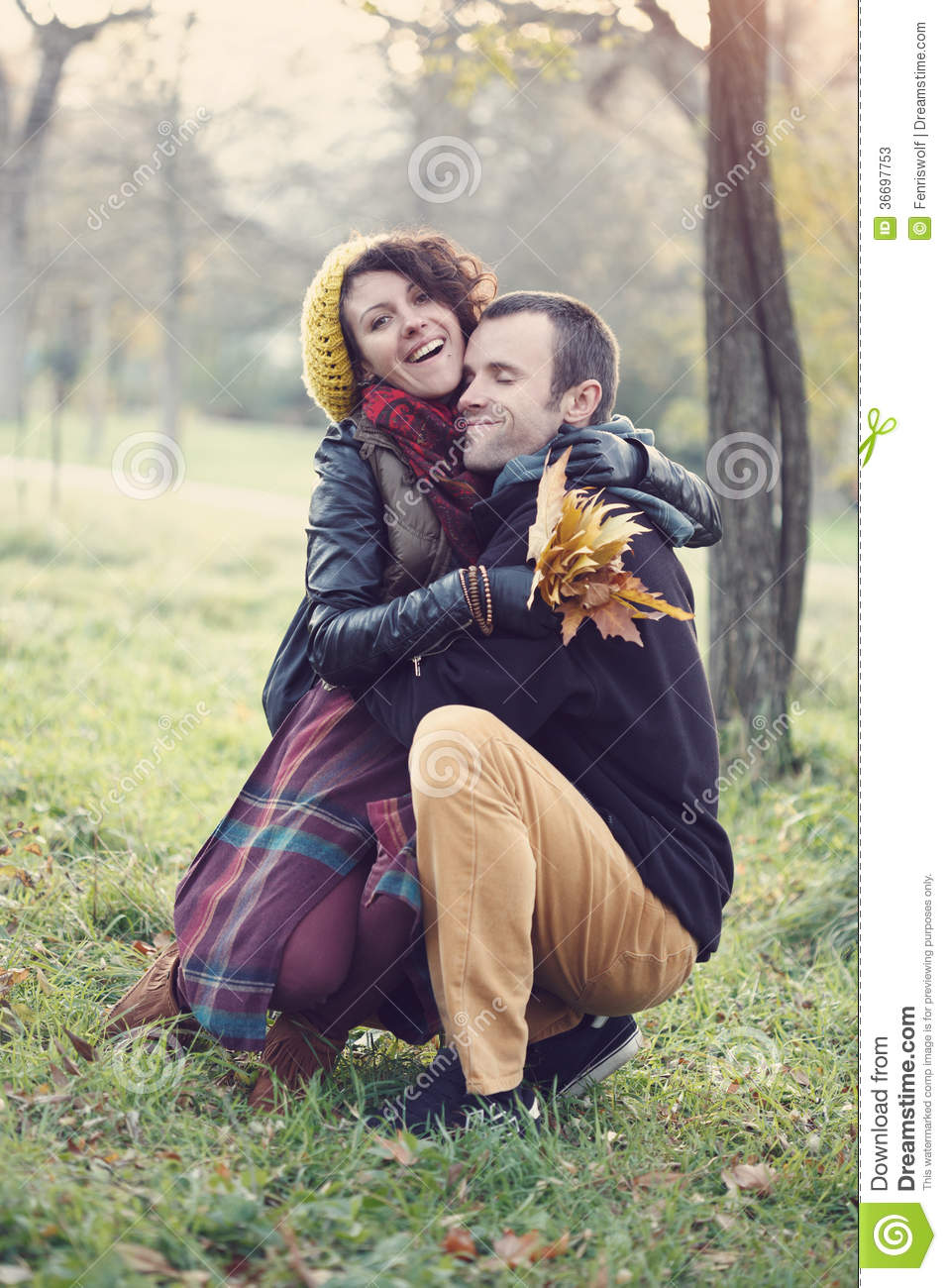 Loving couple hugging in the park. Loving Couple Hugging In The Park Stock Photos   Image  36697753