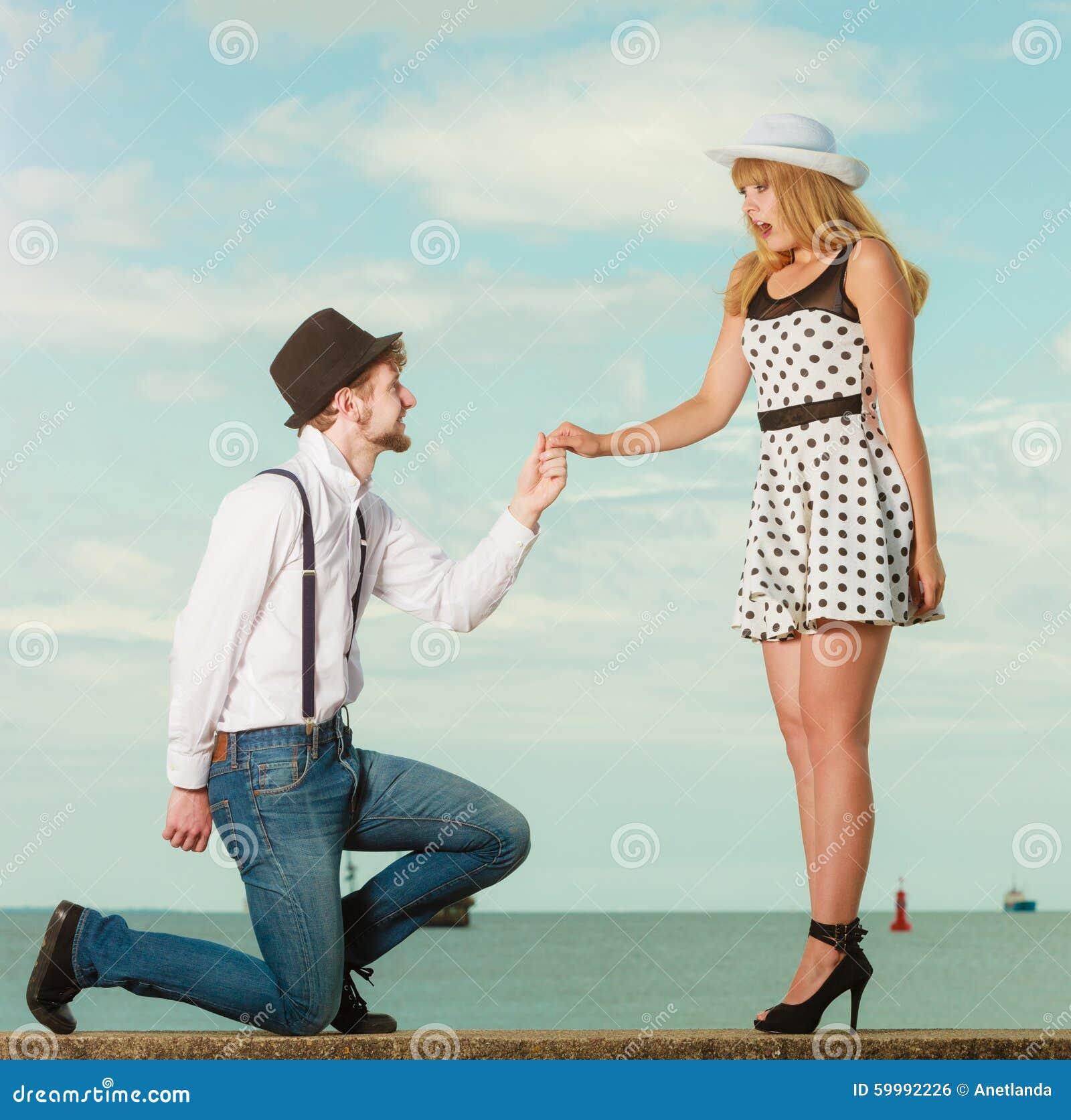 Loving Couple Retro Style Dating On Sea Coast Stock Photo ...