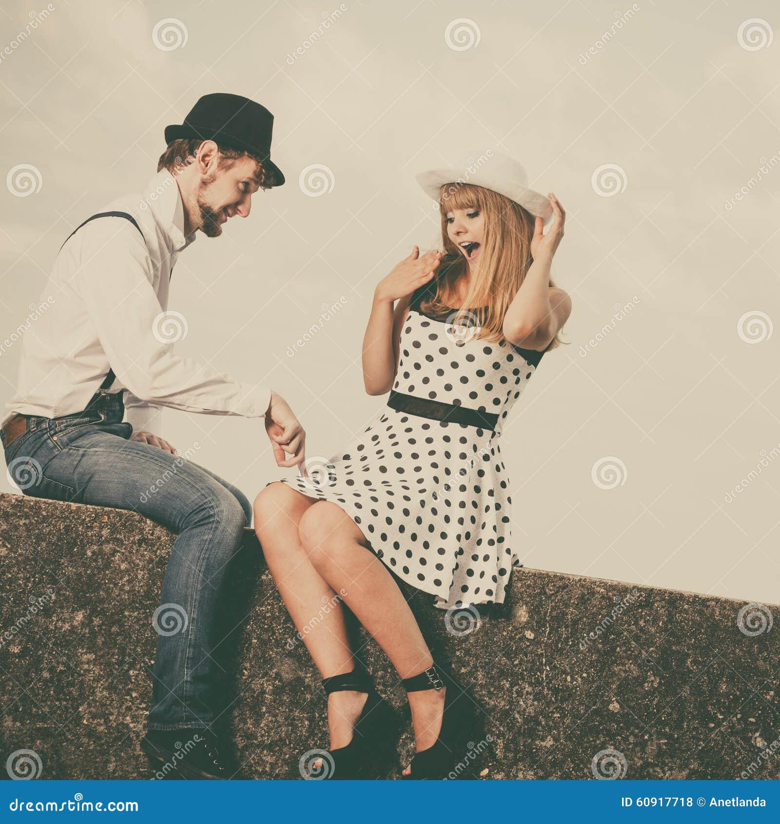 loving couple retro style dating on sea coast stock photo 60917718. Black Bedroom Furniture Sets. Home Design Ideas