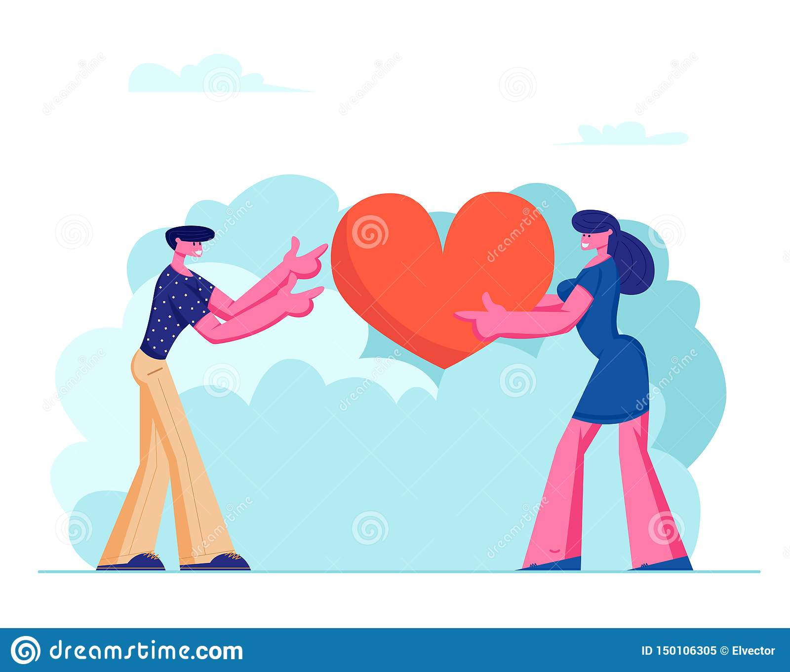 Loving Couple Share Huge Red Heart to Each Other. Human Relations, Love, Romantic Dating. Male and Female Character Spending Time