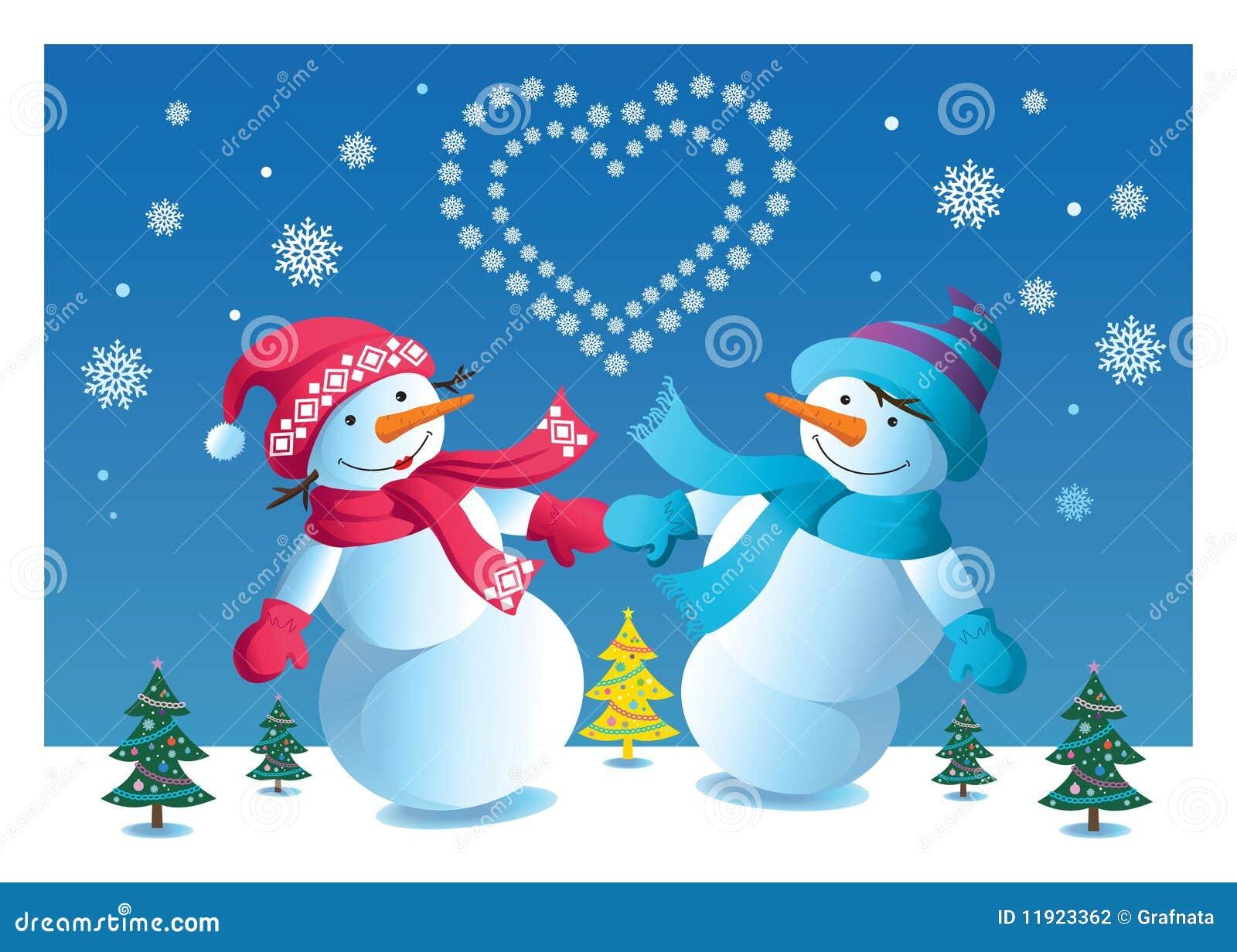 loving couple of snowmen stock photography image 11923362