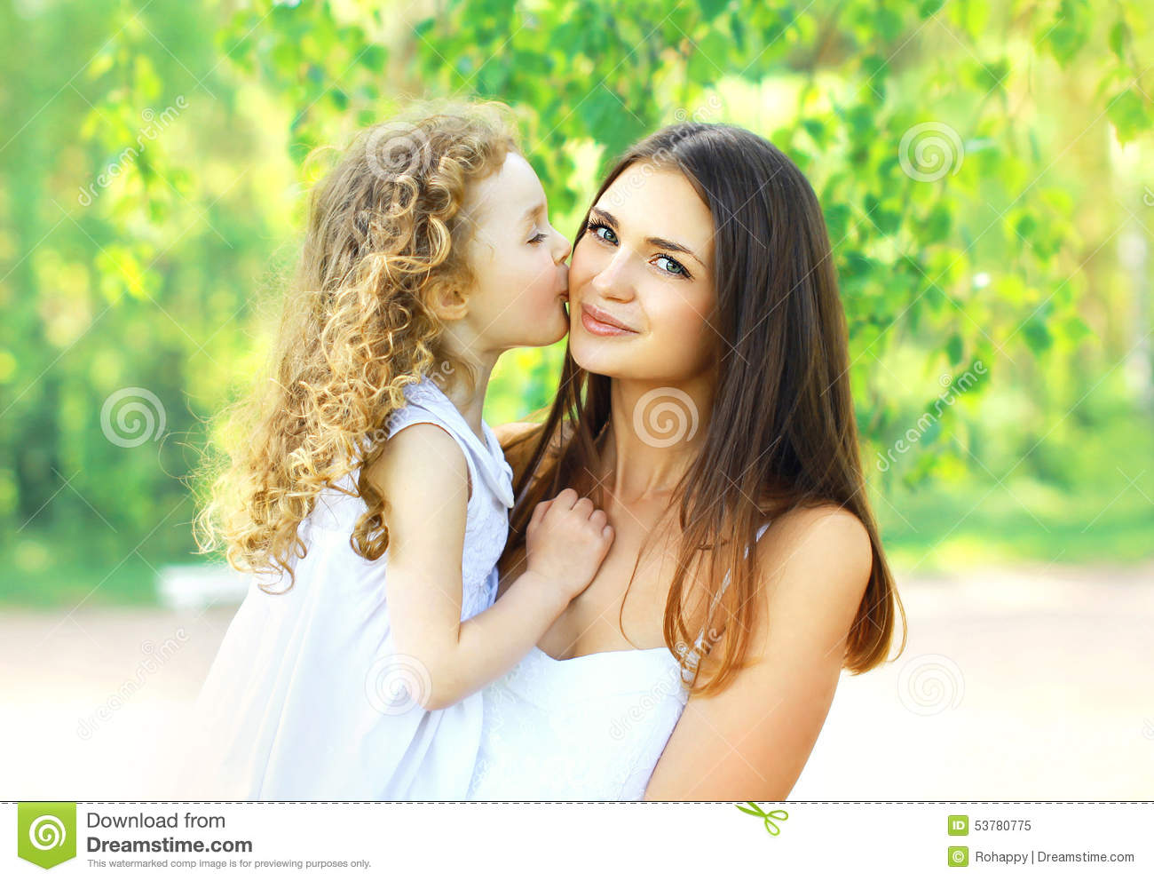 All not very young girl kissing mom for
