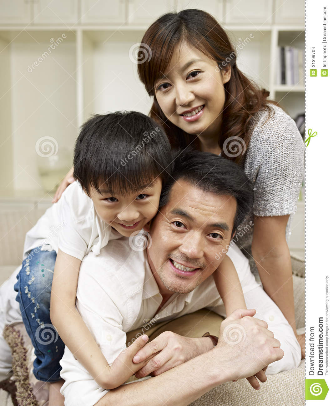 Asian loving family