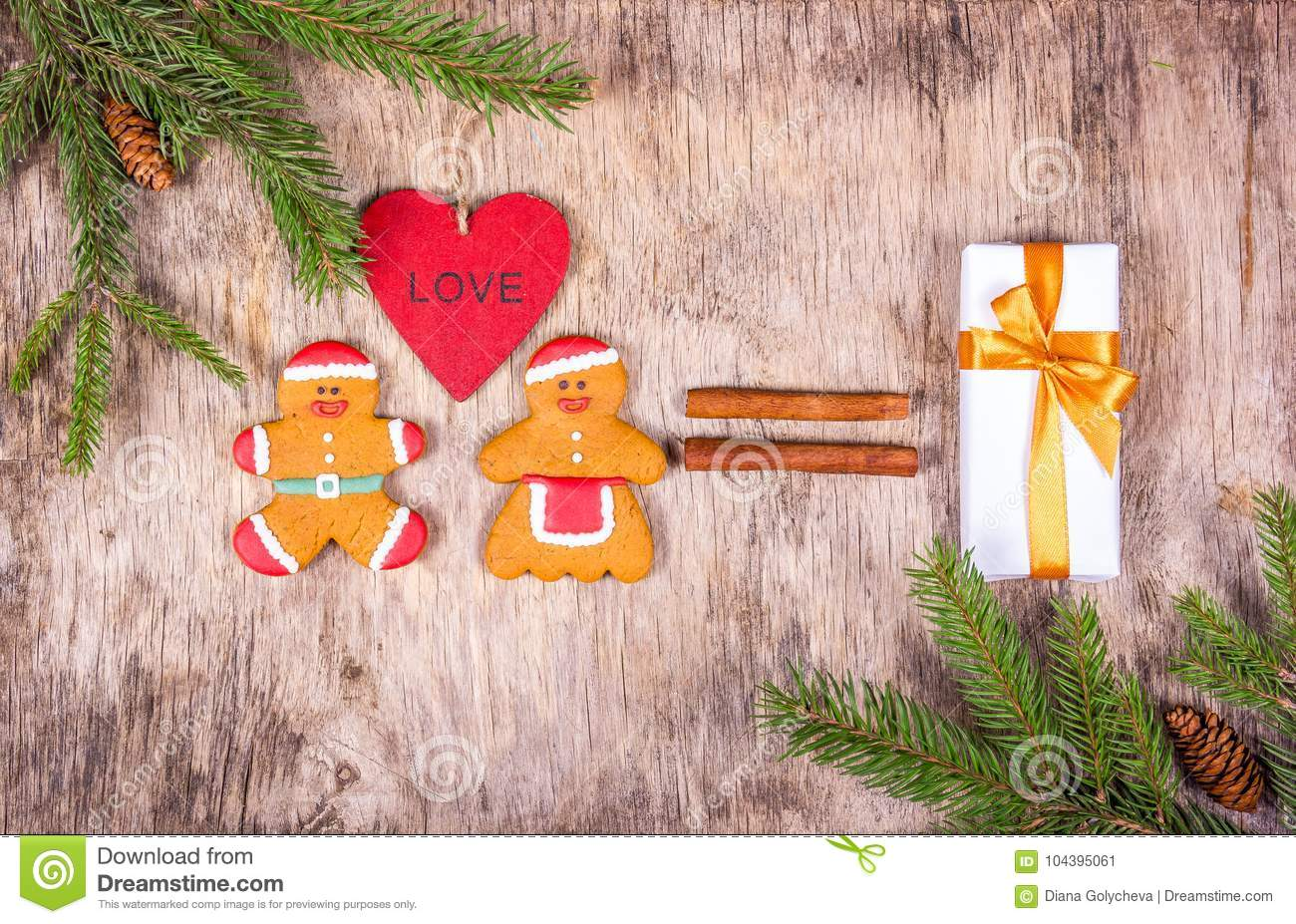 Loving Gingerbread Men. Christmas Decorations With Fir Tree And A ...
