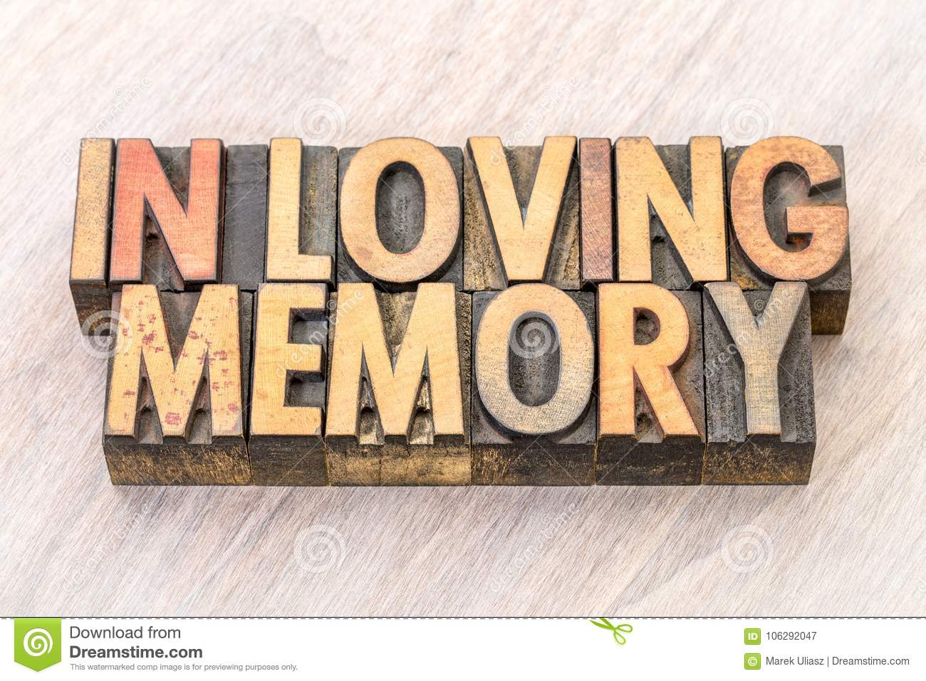 In Loving Memory Word Abstract In Wood Type Stock Image