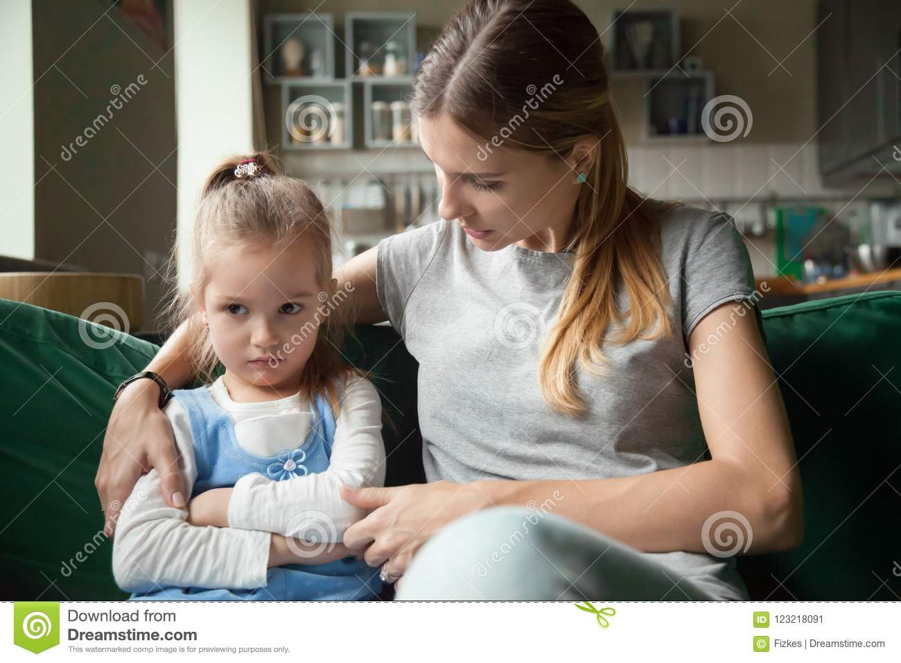 Loving mother consoling insulted upset stubborn kid daughter avo