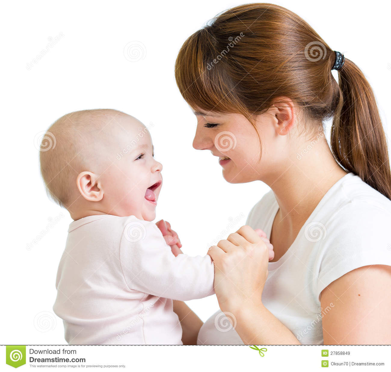 Loving Mother Playing With Her Baby Girl Royalty Free