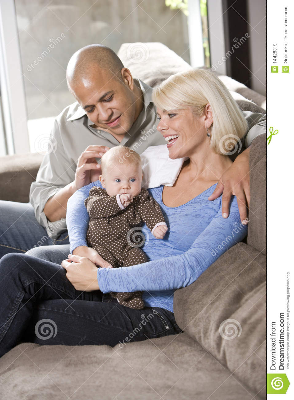 Living Room Man With Baby Sitting
