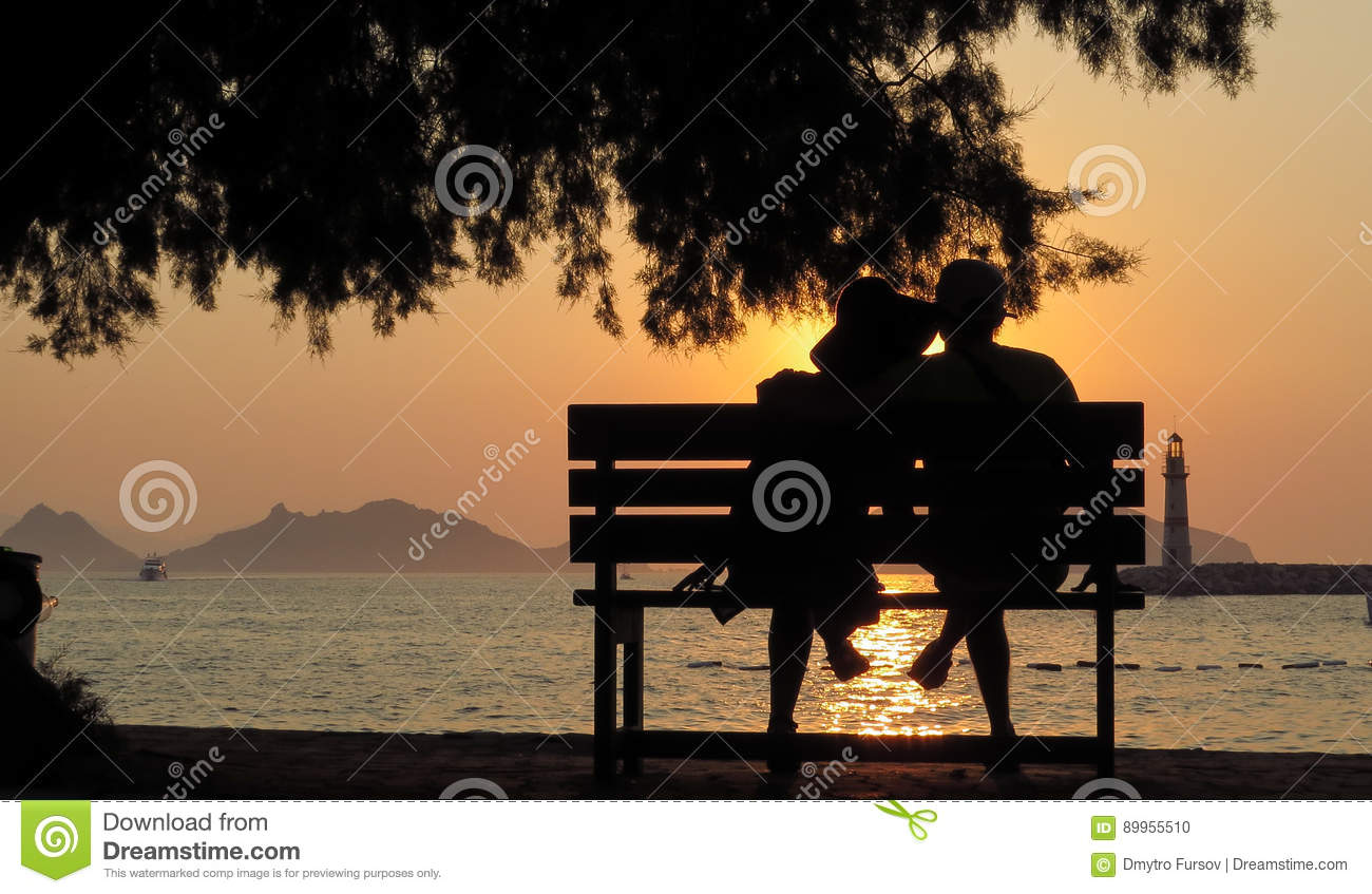 Loving People On The Bench In Silhouette. Stock Photo - Image of ... for People On Bench Silhouette  287fsj