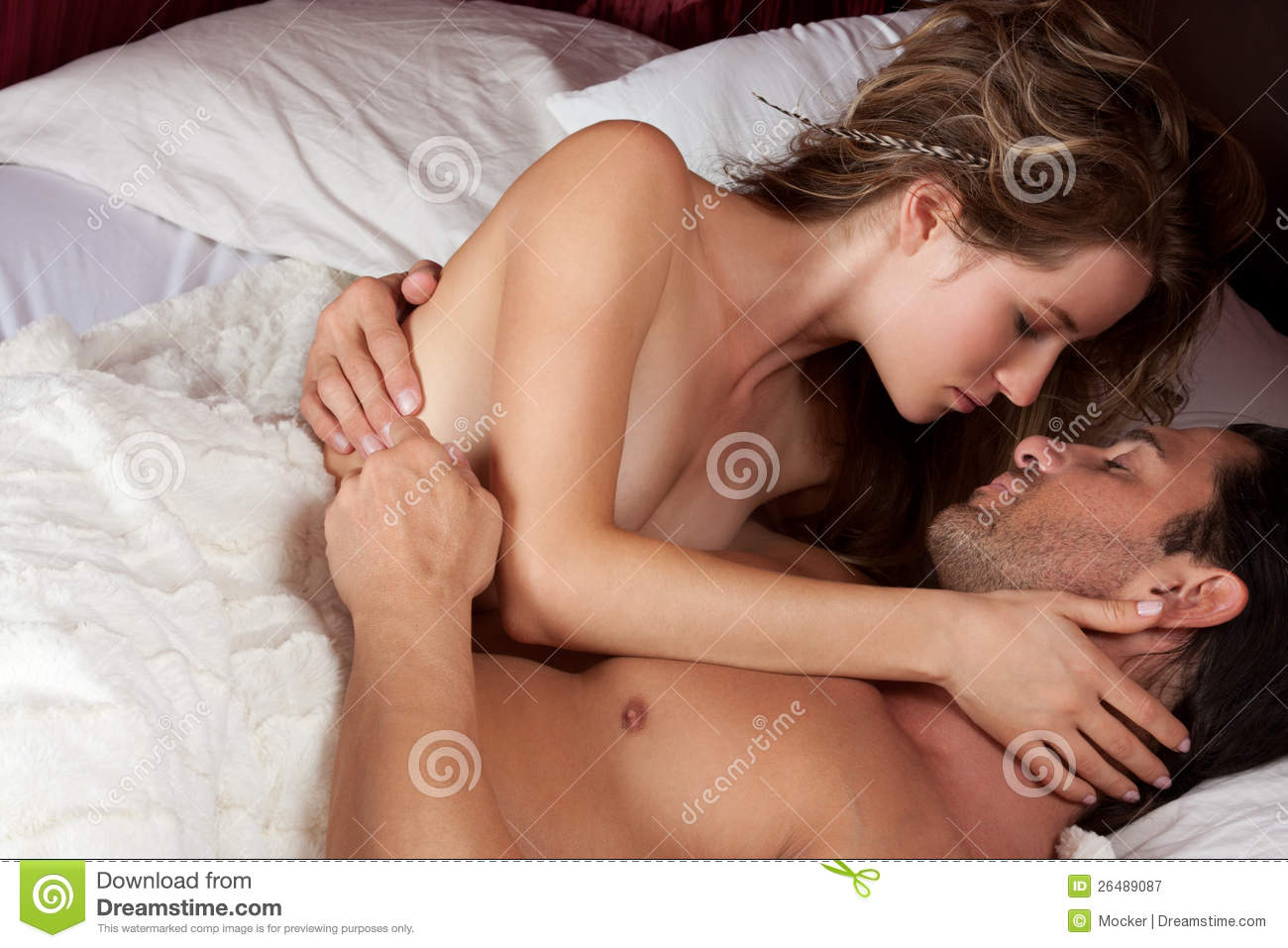 Topless Couple In Bed