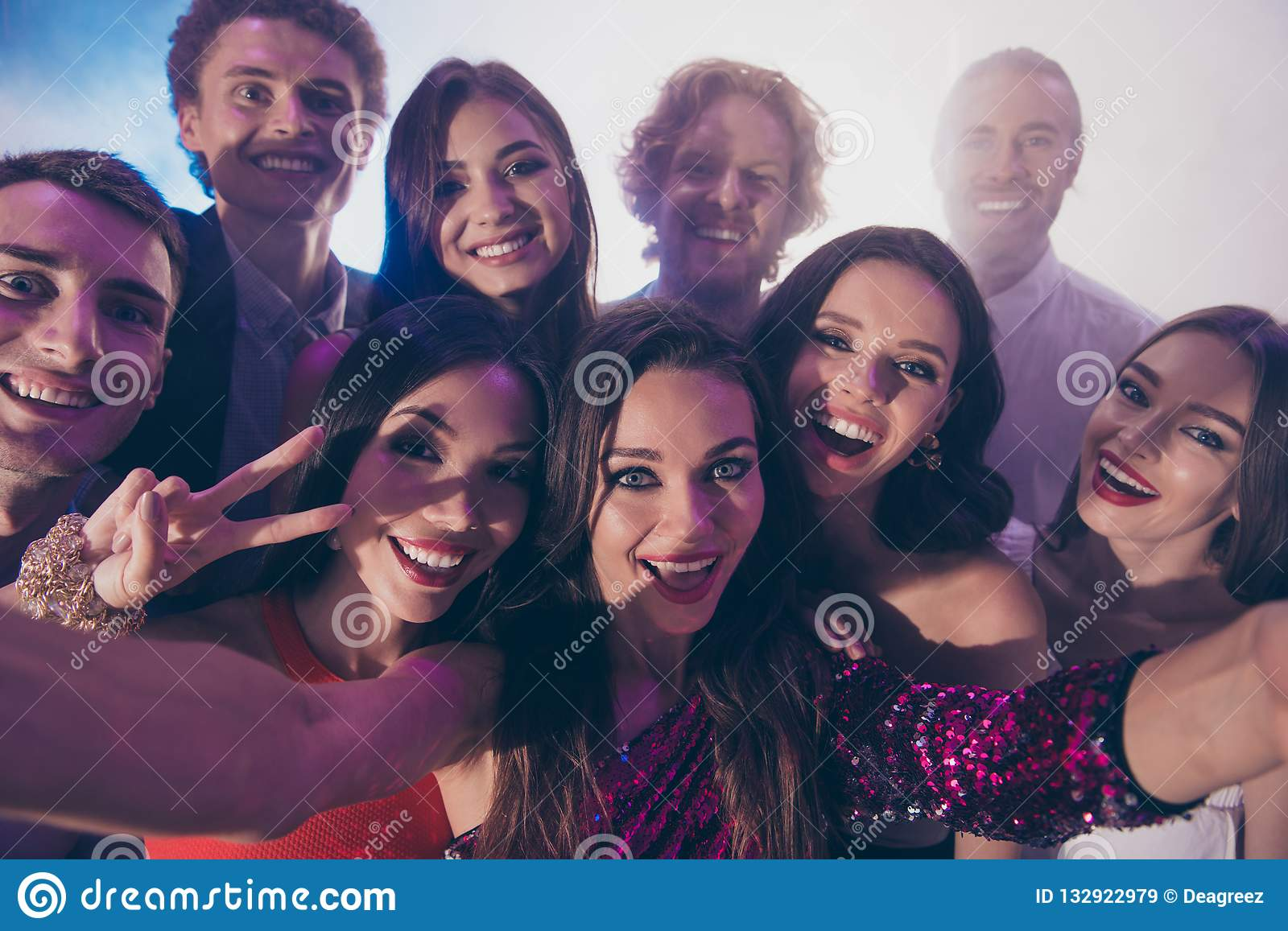 Low above angle top view close up photo portrait of persons hug