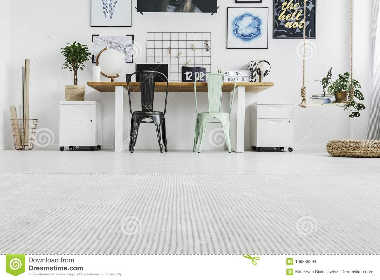 Low angle of home office stock photo. Image of black - 109836994