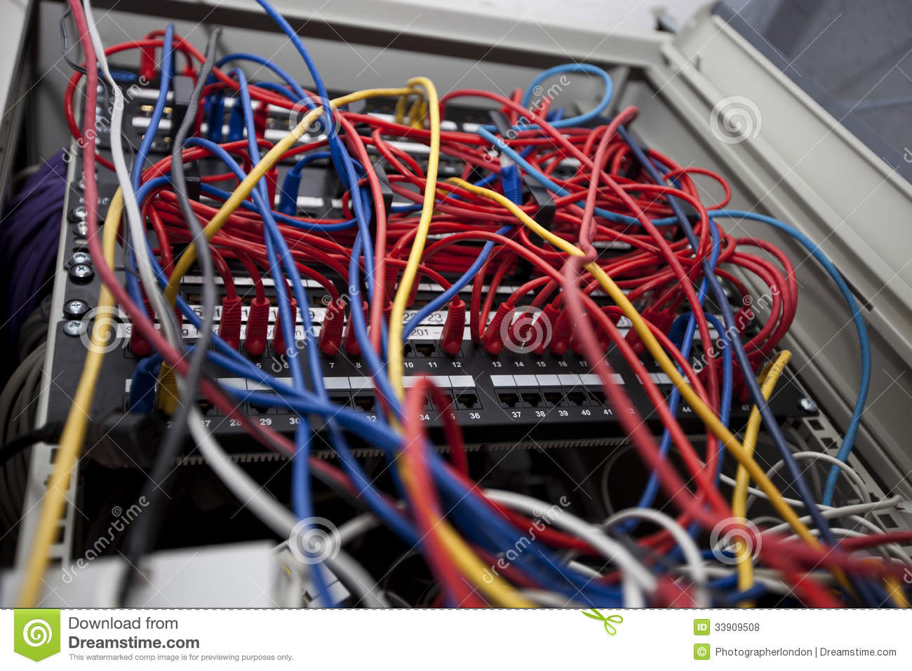 Low Angle Of Tangled Wires In Server Room At Television