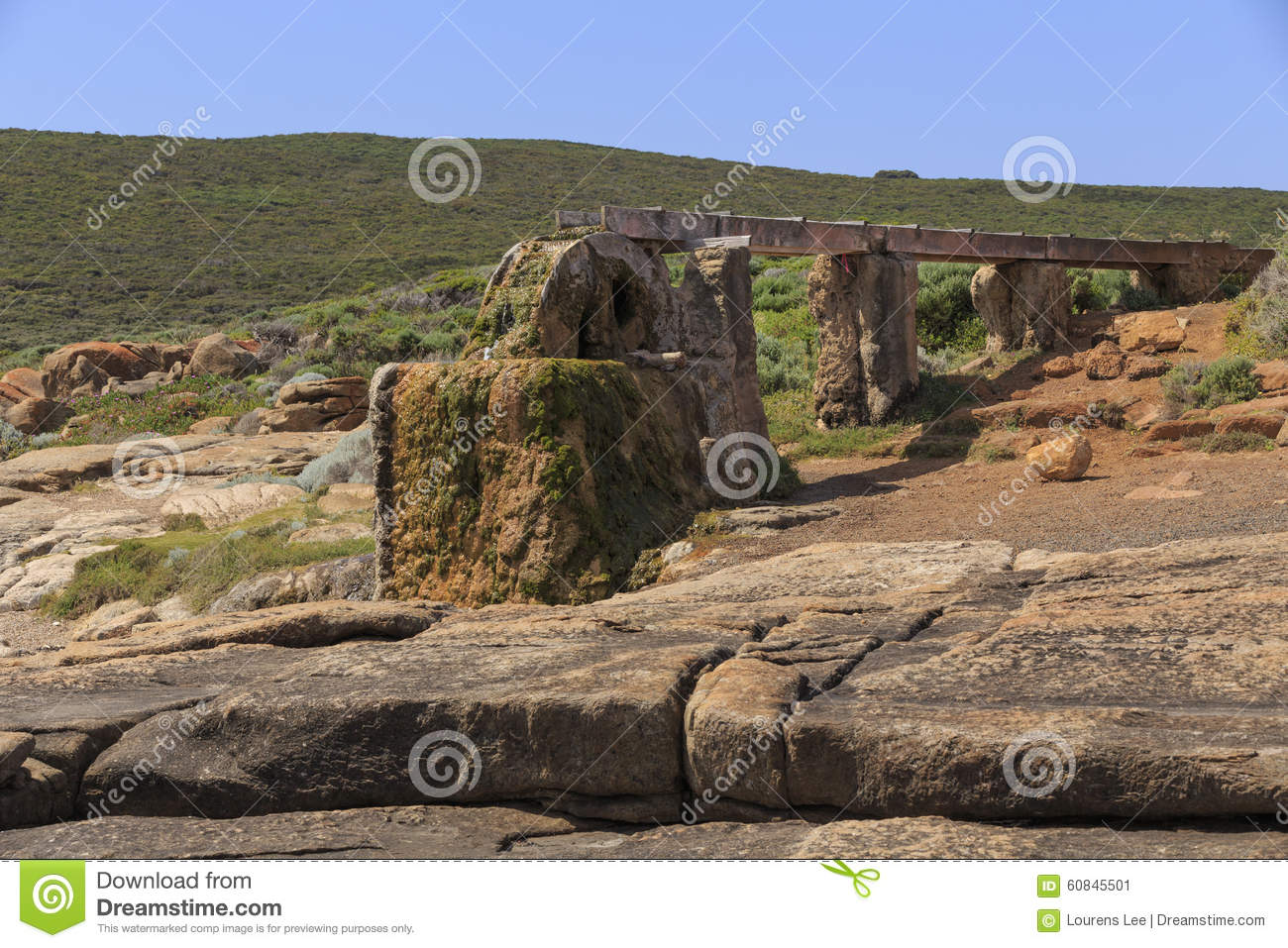 LOW ANGLE VIEW OF CALCIFIED WATER WHEEL Stock Photo - Image: 60845501