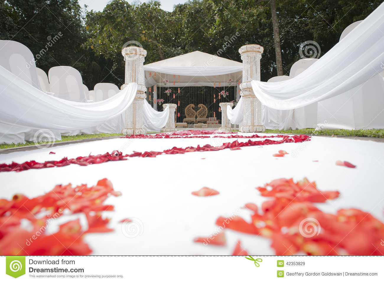 Low Angle View Of Hindu Indian Wedding Decor And Venue Stock Image