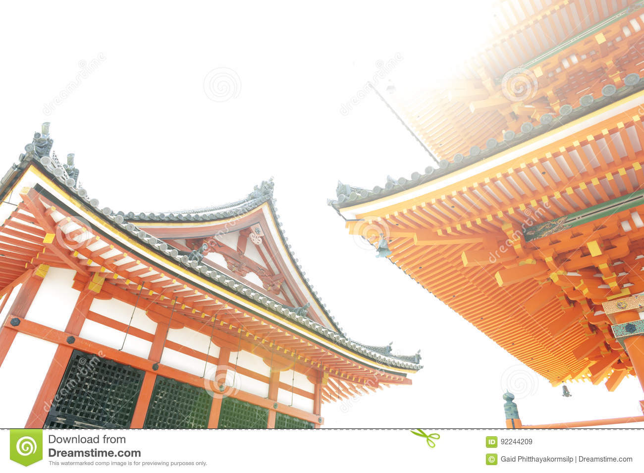 low angle view of japanese architecture buildings and roof details