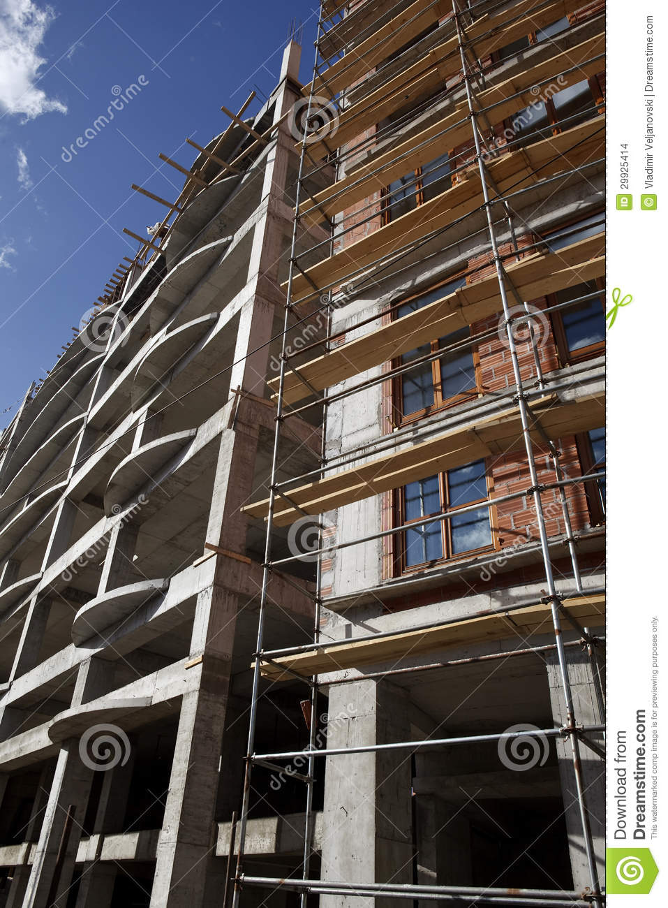 scaffolding on tall brick building royalty free stock photo 41052303. Black Bedroom Furniture Sets. Home Design Ideas