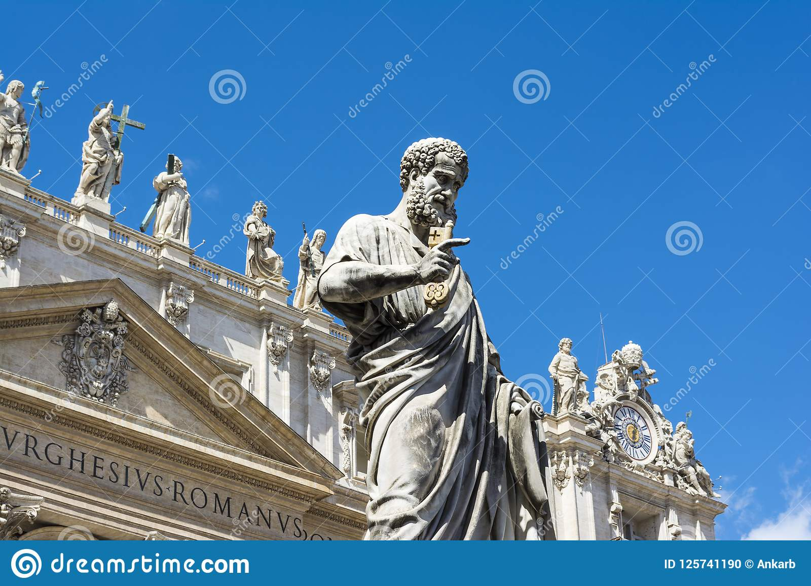 Low angle view of the statue of St. Peter in St. Peter`s Square, Vatican City