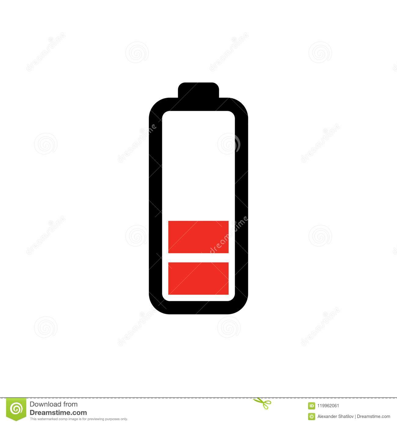 Low Battery Icon Power Batteryillustration Electricity Symbol