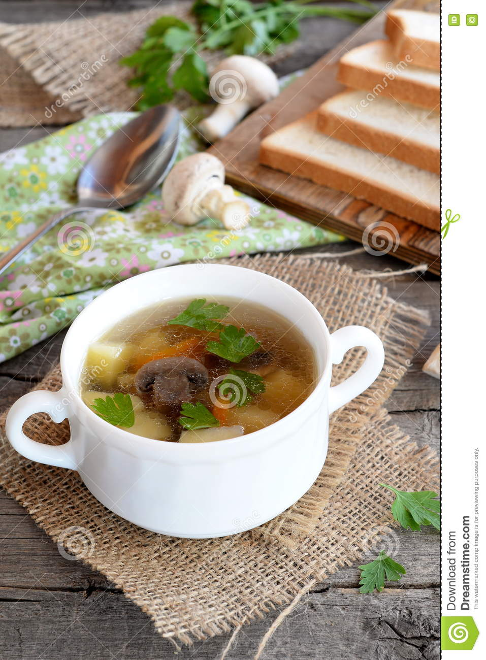 Low Calorie Soup With Mushrooms, Potatoes, Carrots And ...