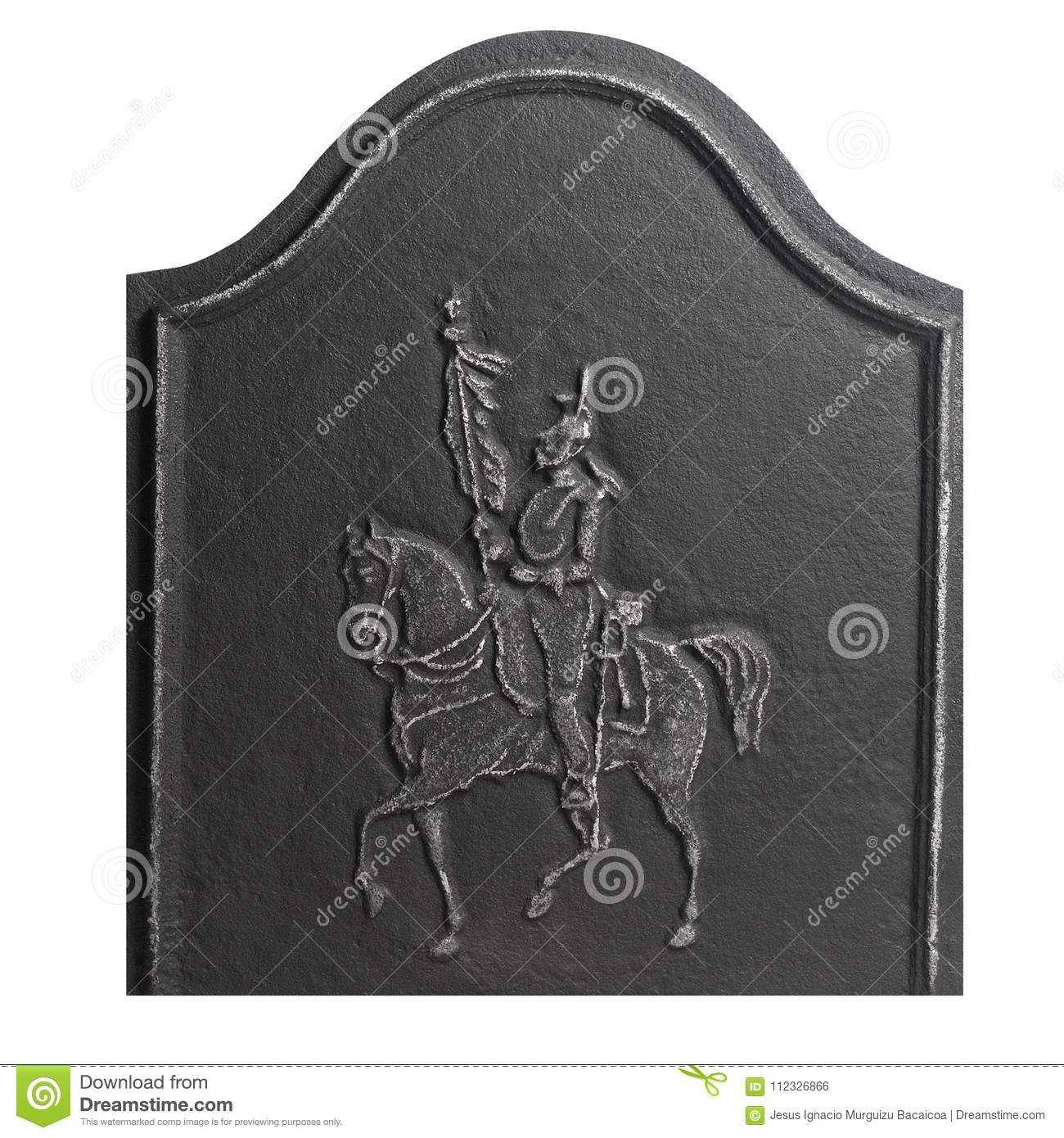 Low Cast Iron Fire Plate With Knight Image Stock Photo - Image of
