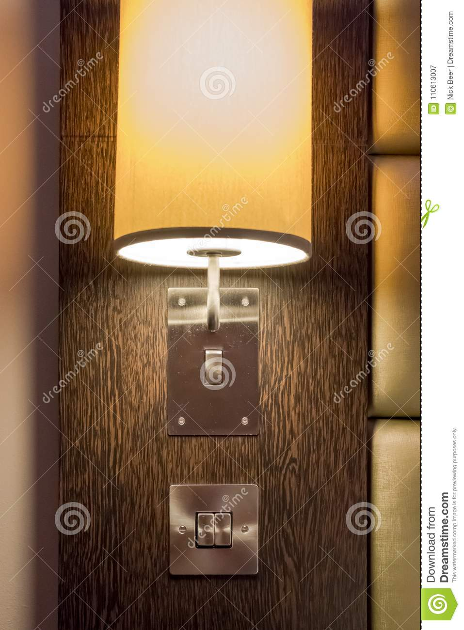 Low Energy Bedroom Side Light And Lampshade Lit In A Luxury - Bedroom side lights