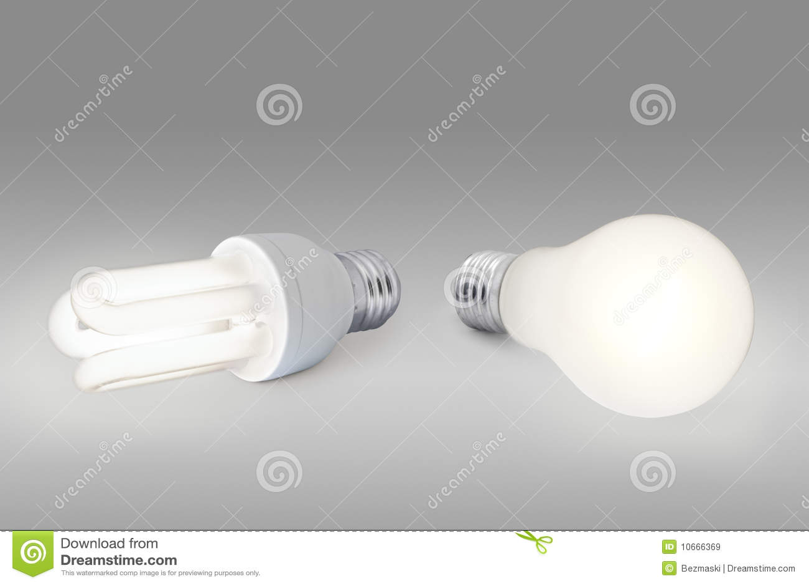 Low Energy Light Bulb Against Normal Light Bulb Stock Image Image 10666369