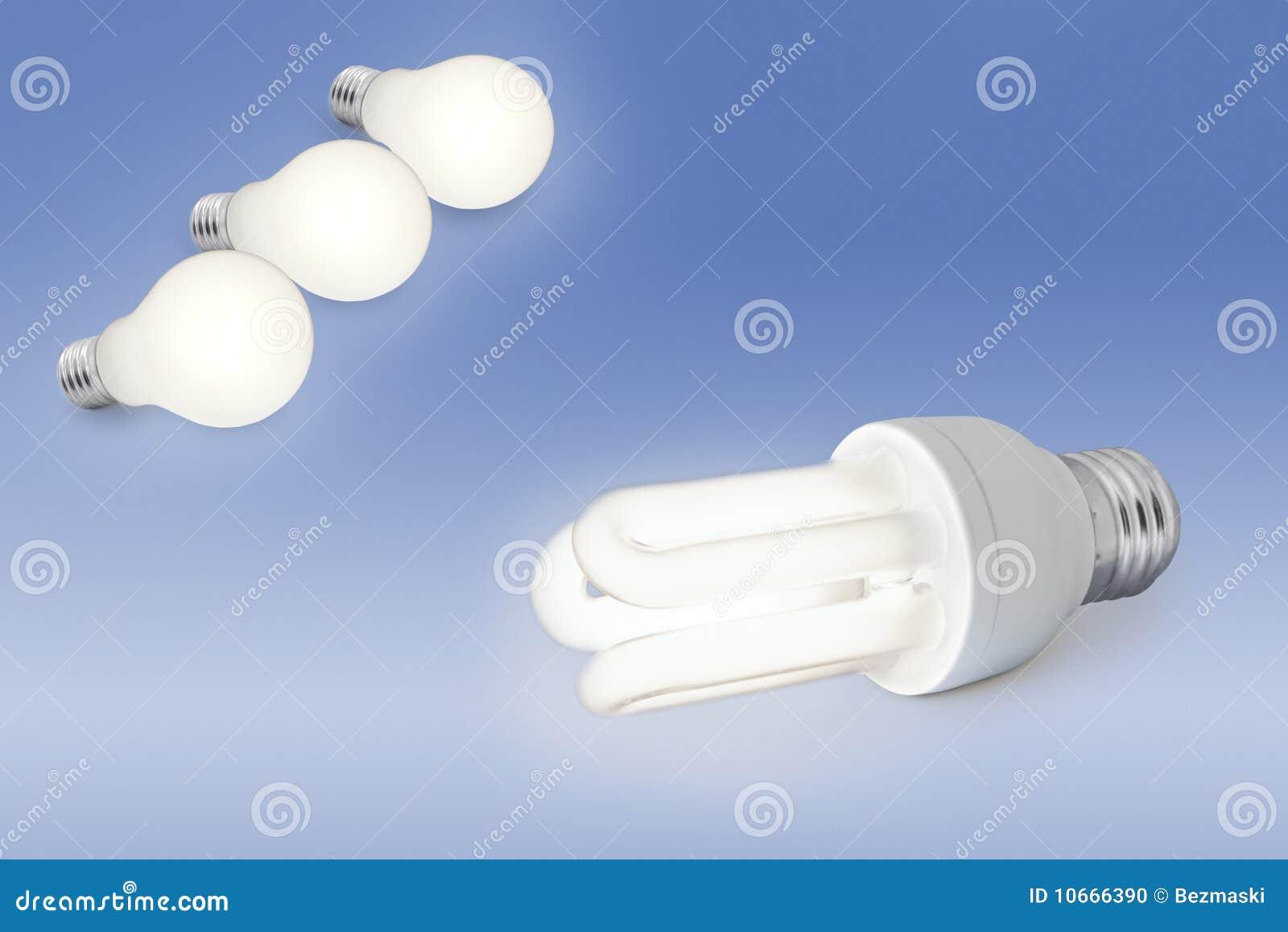 Low Energy Light Bulb Against Normal Light Bulb Stock Photo Image 10666390