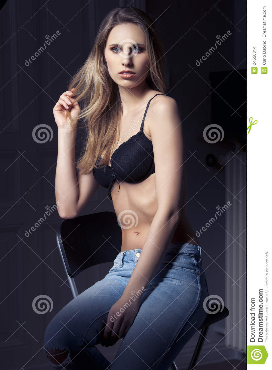 Low Key Fashion Shot Of Cute Girl In Jeans Stock Images ...