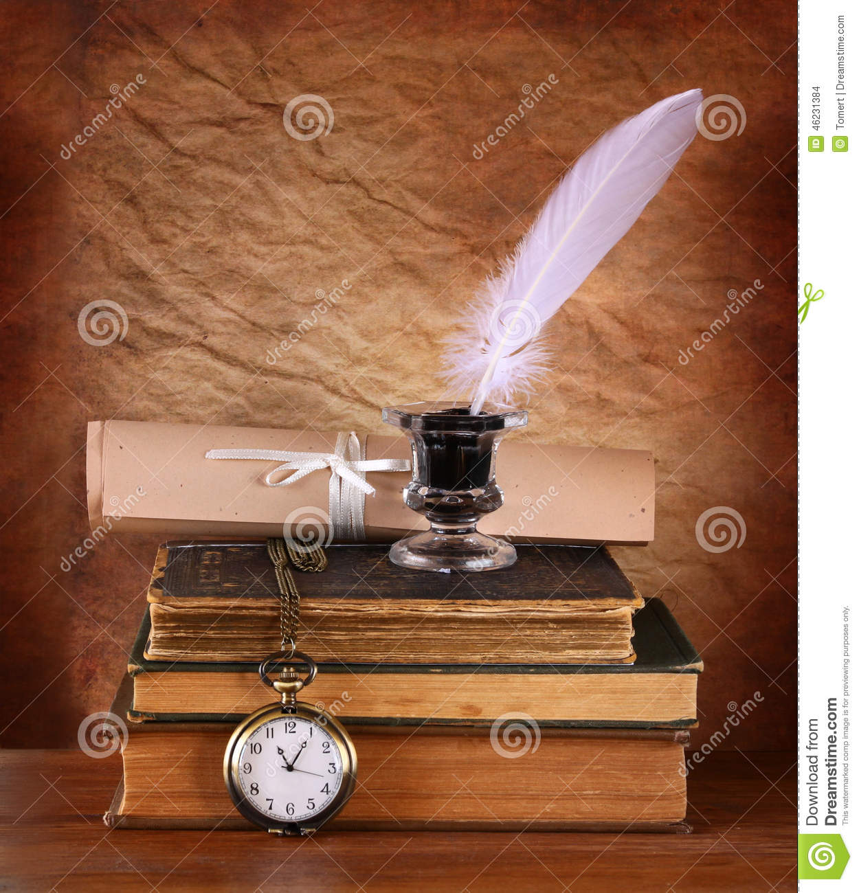 Ancient Soapstone Inkwell Stock Photo: Low Key Image Of White Feather, Inkwell And Ancient Books
