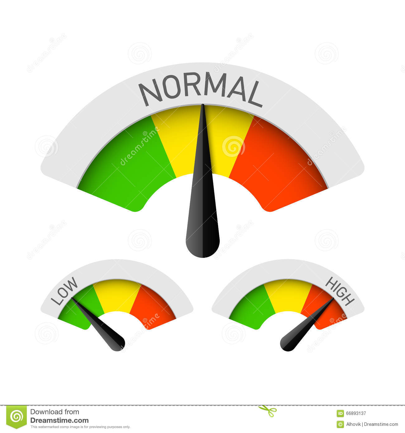 low normal and high gauges stock vector image 66893137