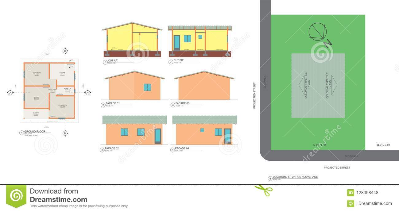 Low plant, cuts, facades and popular house implantationwith dimensions
