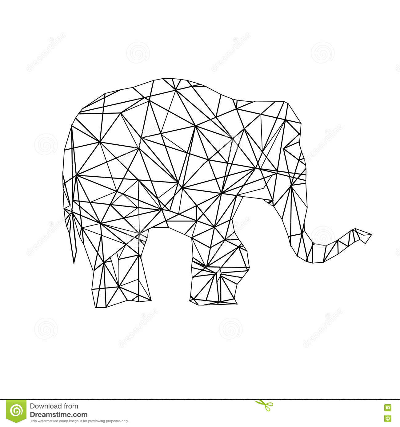 Low Poly Adult Coloring Page Elephant Stock Image - Image of ...