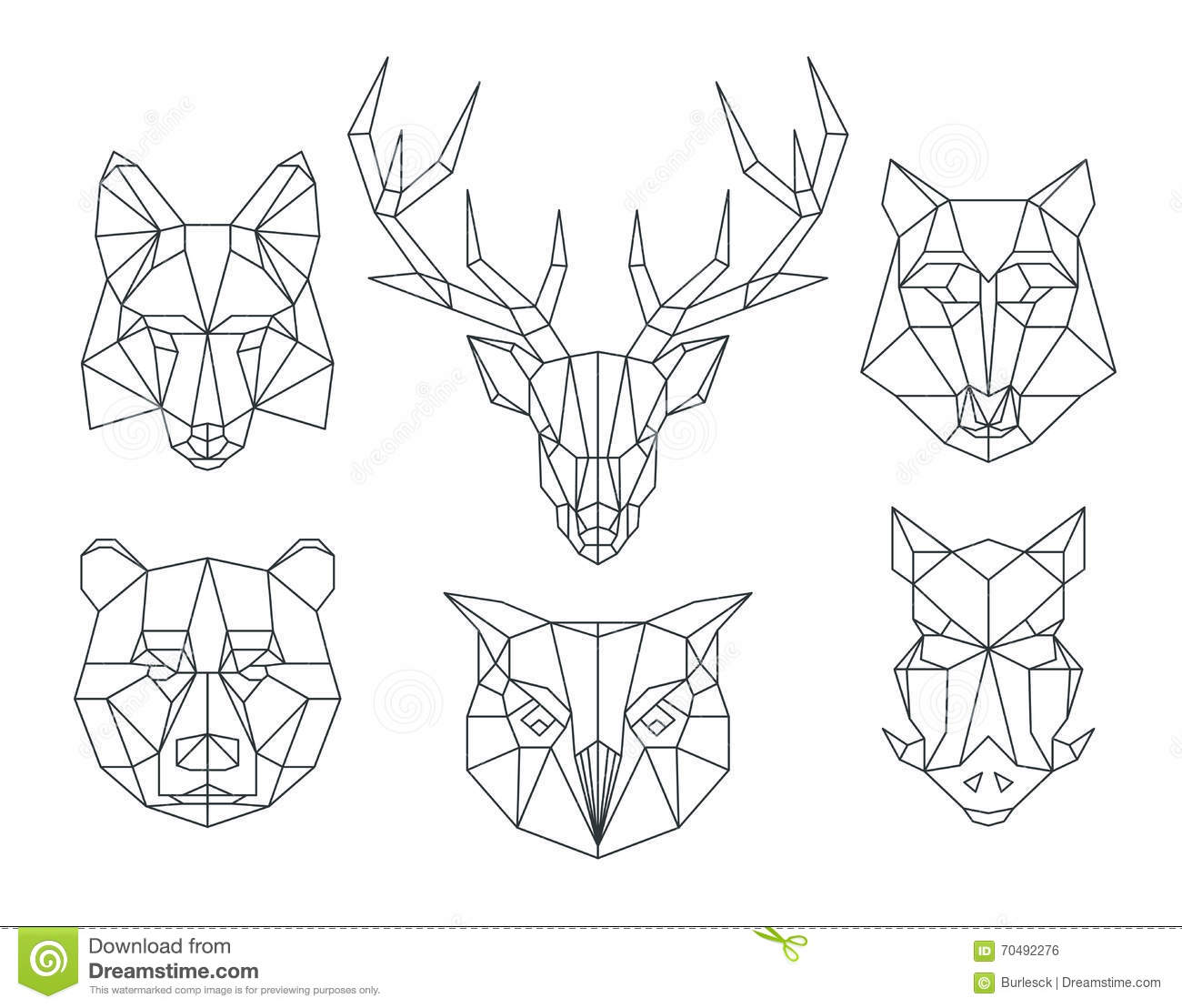 Low Poly Animals Heads Triangular Thin Line Vector Set Stock Image 70492276