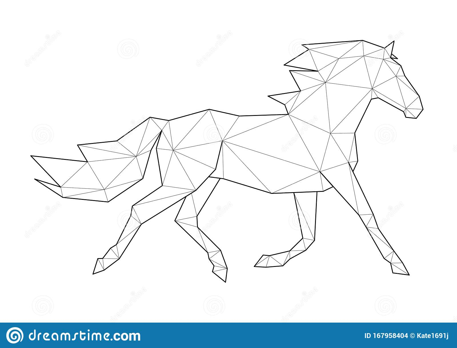 Low Poly Art Of Animals. Running Horse. Good For Wall Decoration ...