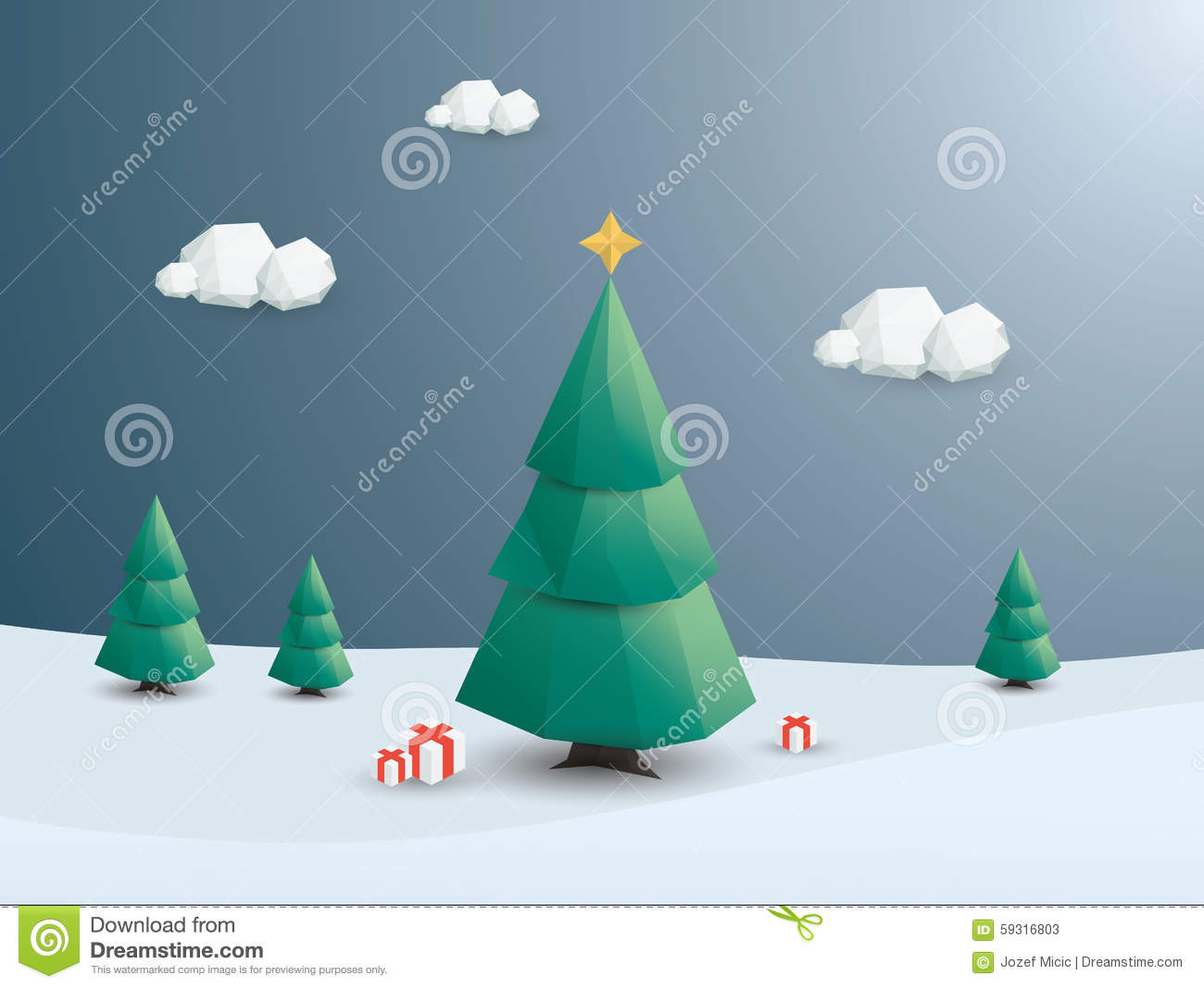 download low poly christmas tree holiday card template stock vector illustration of gifts - Polytree Christmas Tree