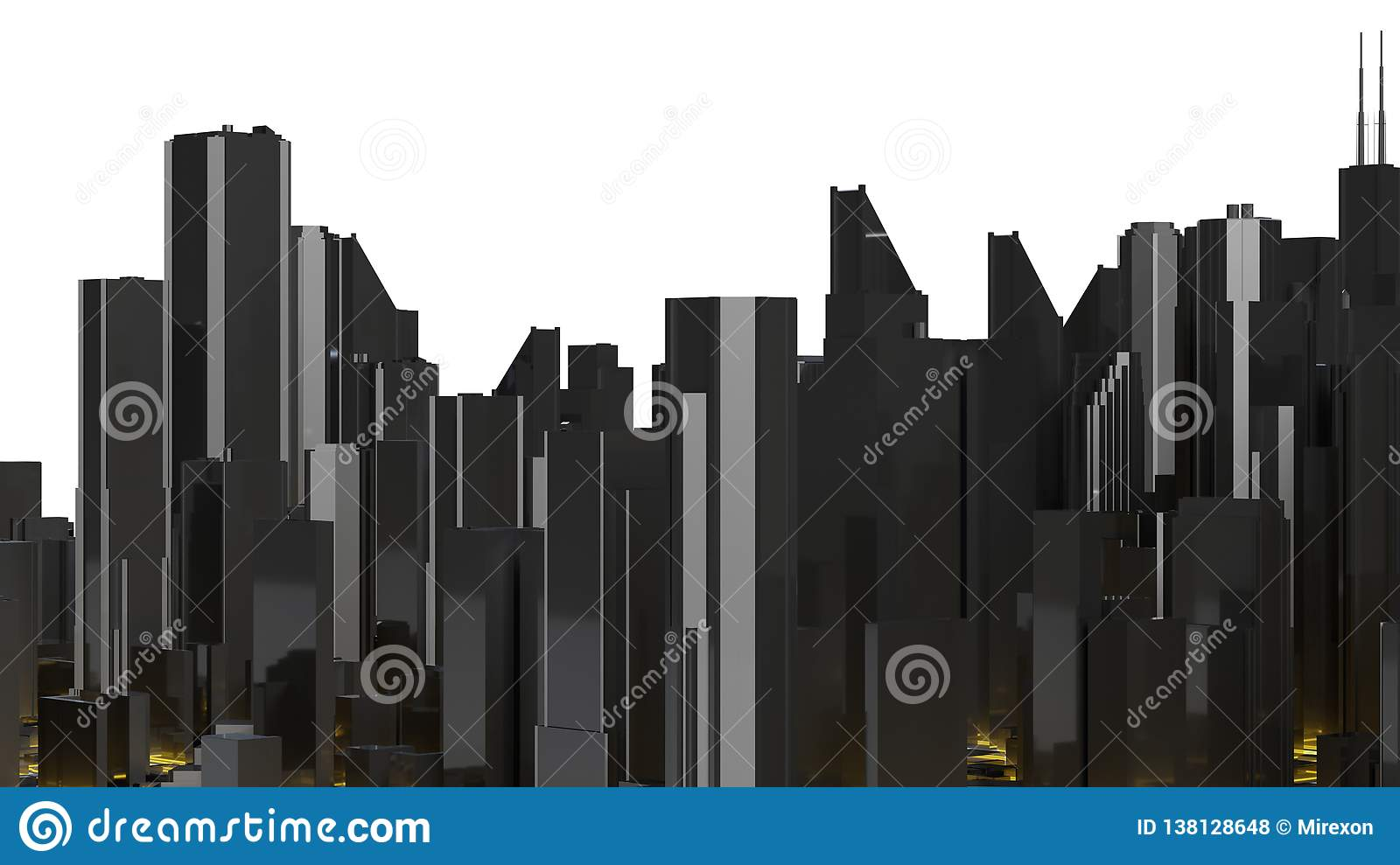 Low Poly City Views From Above  3d Rendering Stock Illustration
