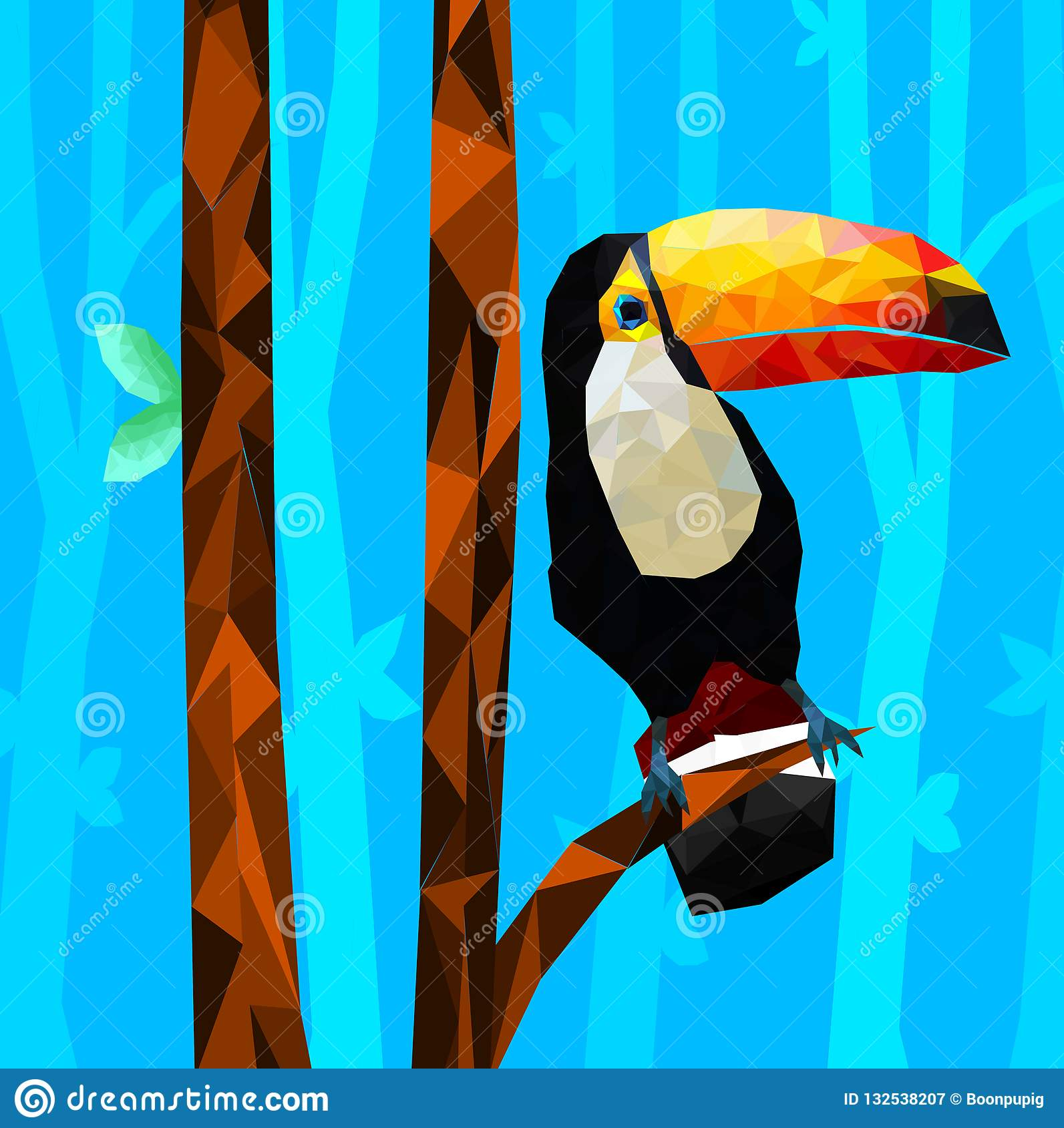 Low Poly Colorful Toucan Bird With Tree On Back Ground