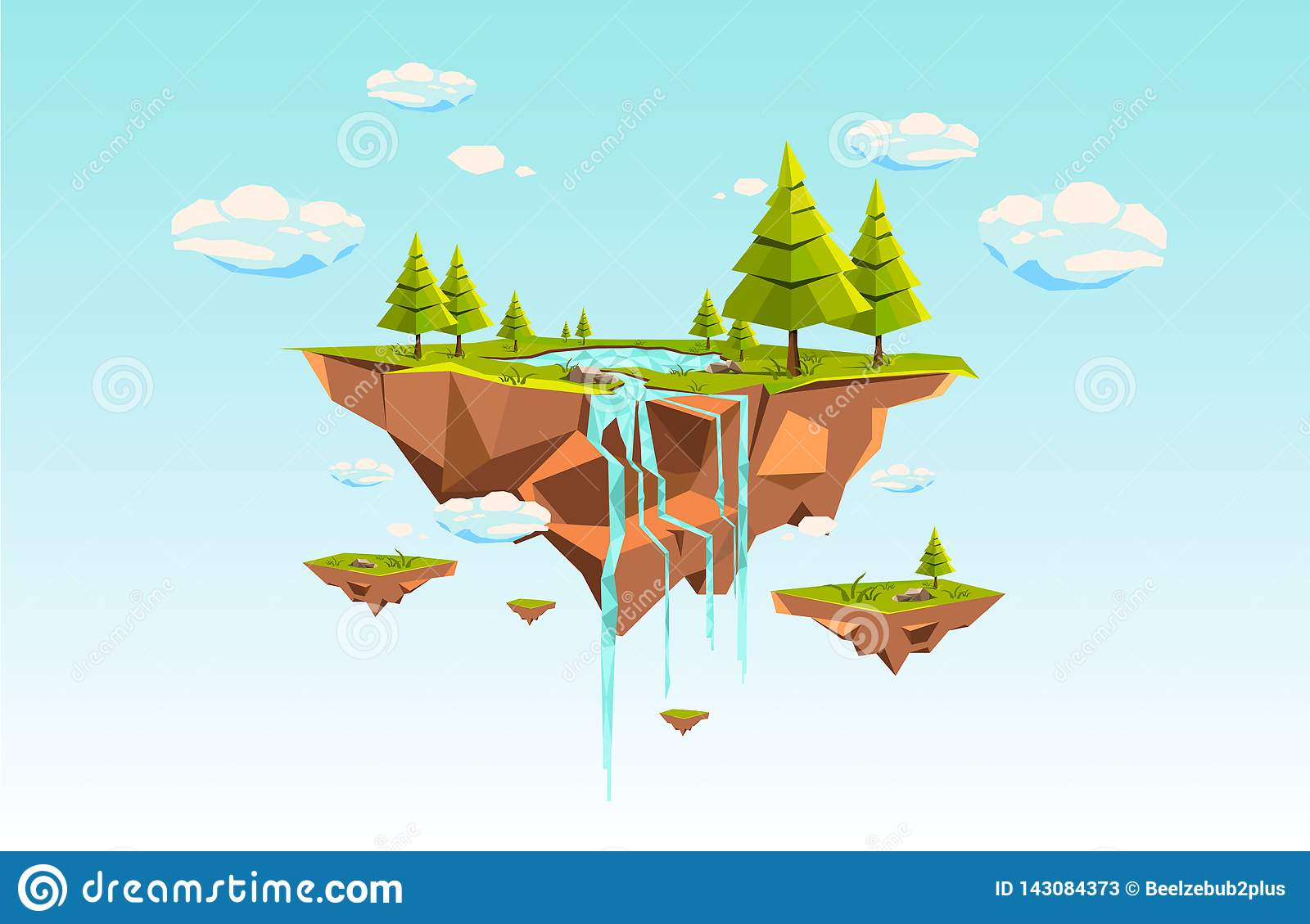 Low poly flying island a blue sky