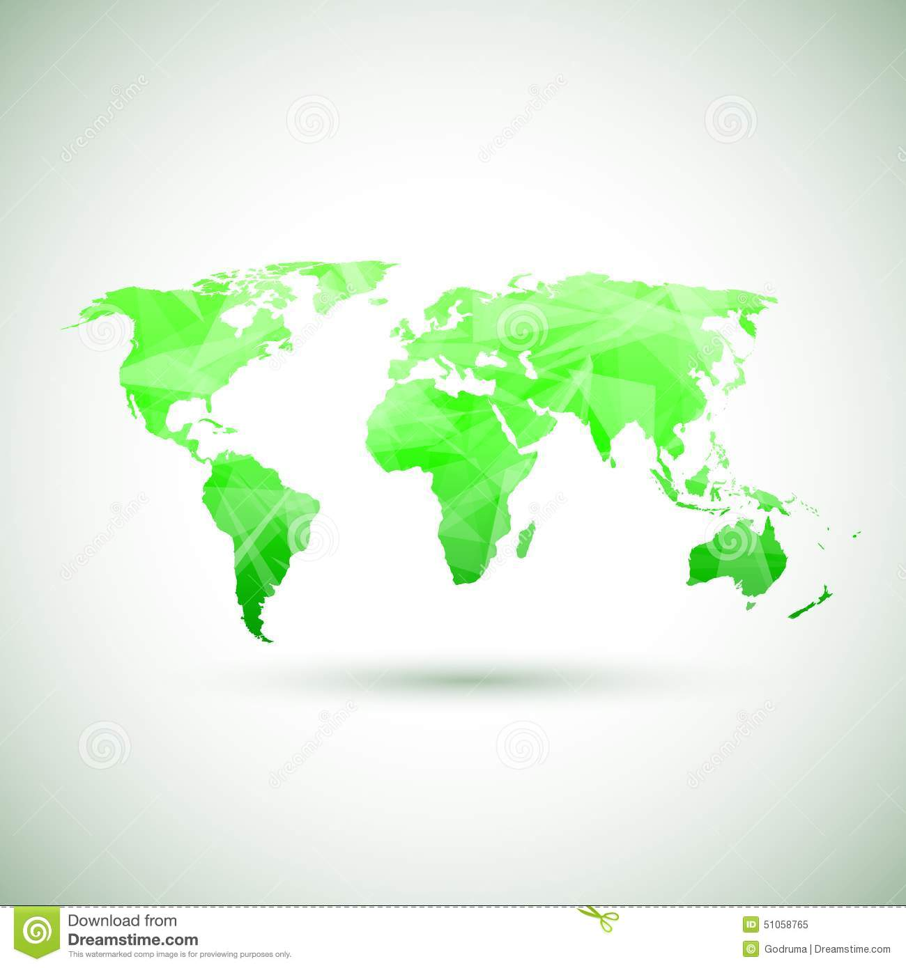 low poly green vector world map stock vector image 51058765