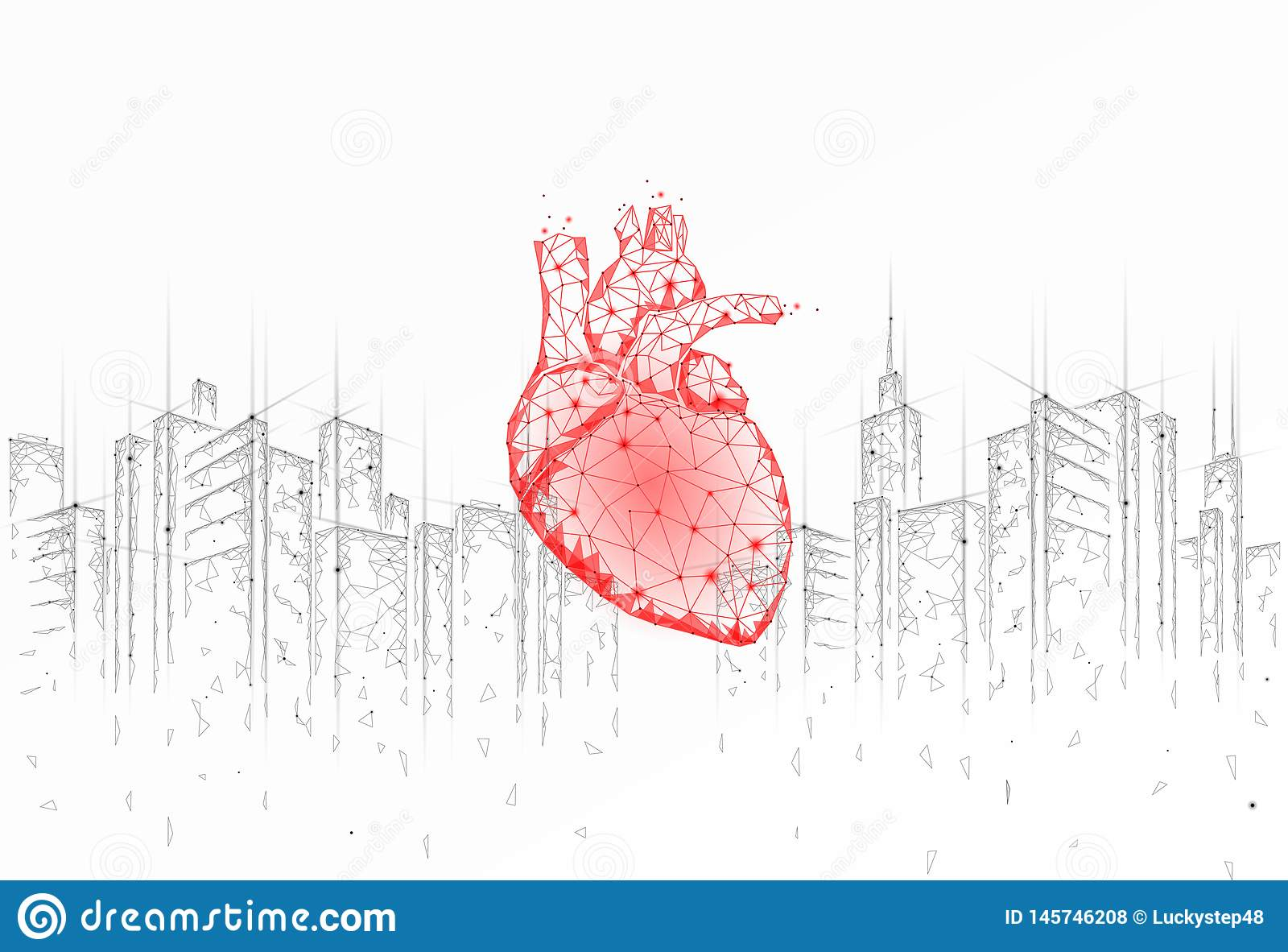 Low poly heart urban health day. Global cardiac awareness medicine banner cityscape city stress situation. Doctor online