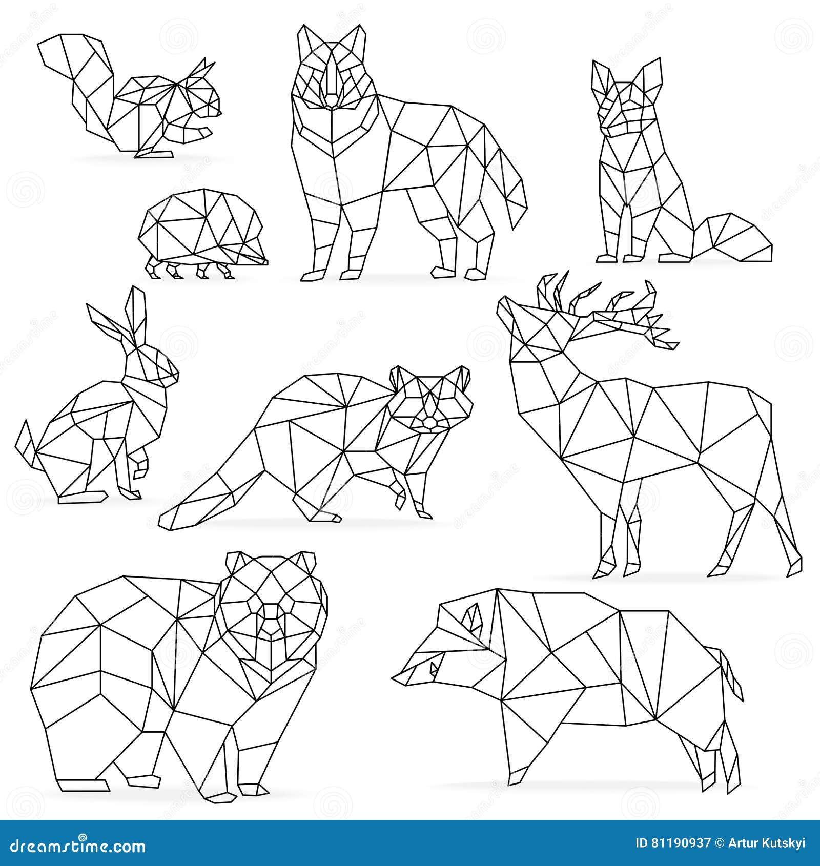Low Poly Line Animals Set Origami Poligonal Wolf Bear