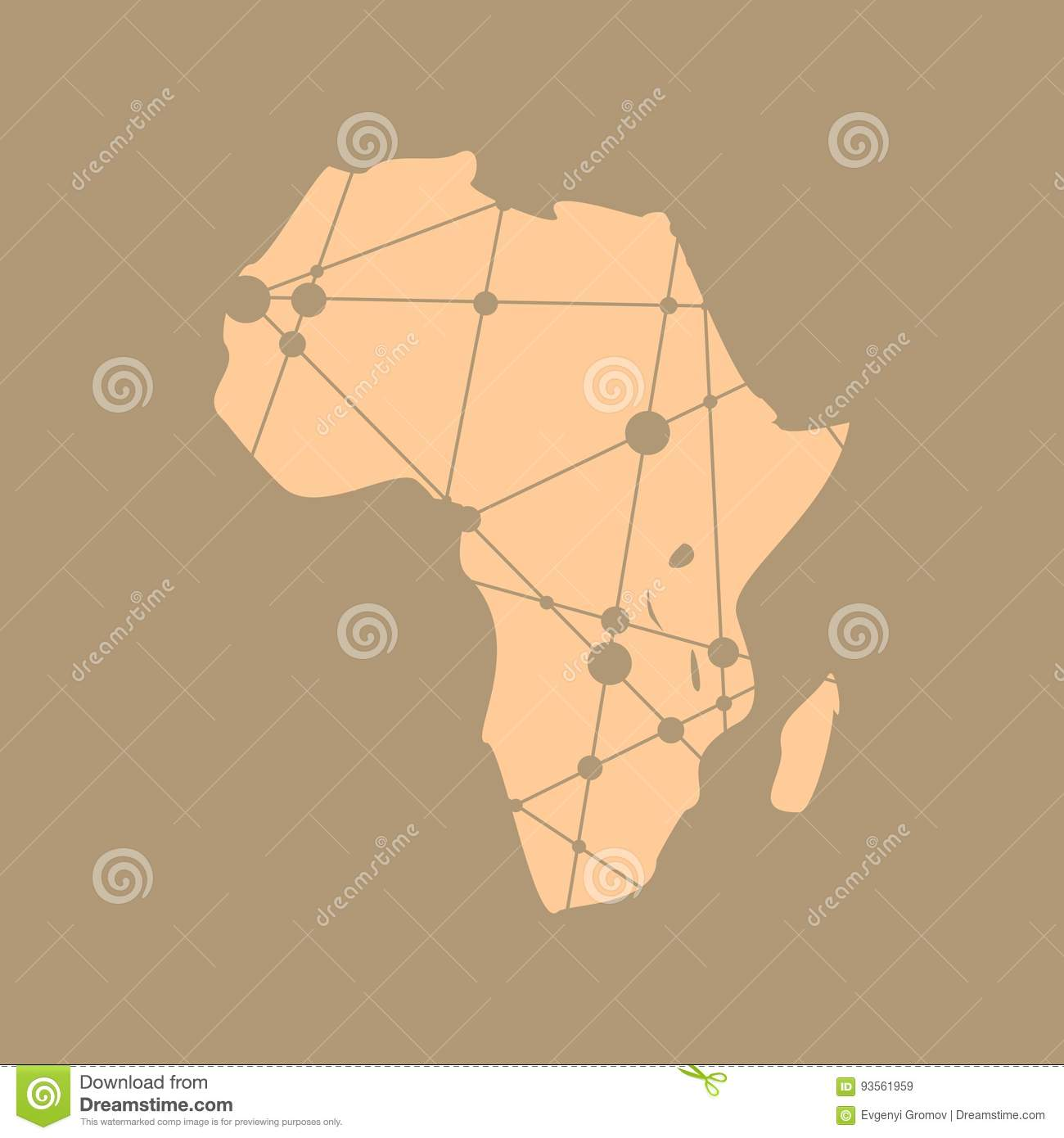 Low poly map of Africa stock vector. Illustration of logo - 93561959