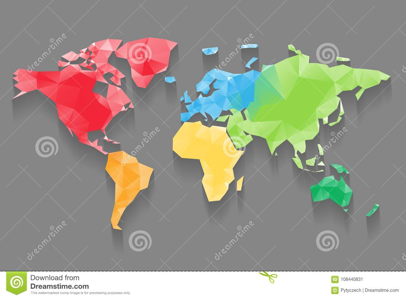 Low poly map of world divided into six continents by color download low poly map of world divided into six continents by color polygonal vector design gumiabroncs Choice Image