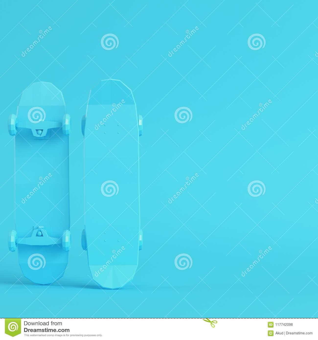 90054c47 Low poly skateboard deck on bright blue background in pastel colors.  Minimalism concept. 3d render. More similar stock illustrations
