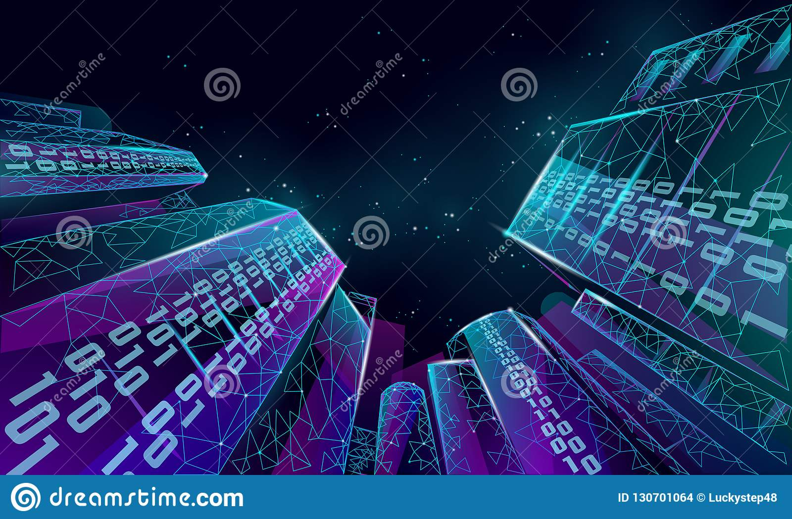 low poly smart city 3d wire mesh intelligent building automationlow poly smart city 3d wire mesh intelligent building automation system business concept binary