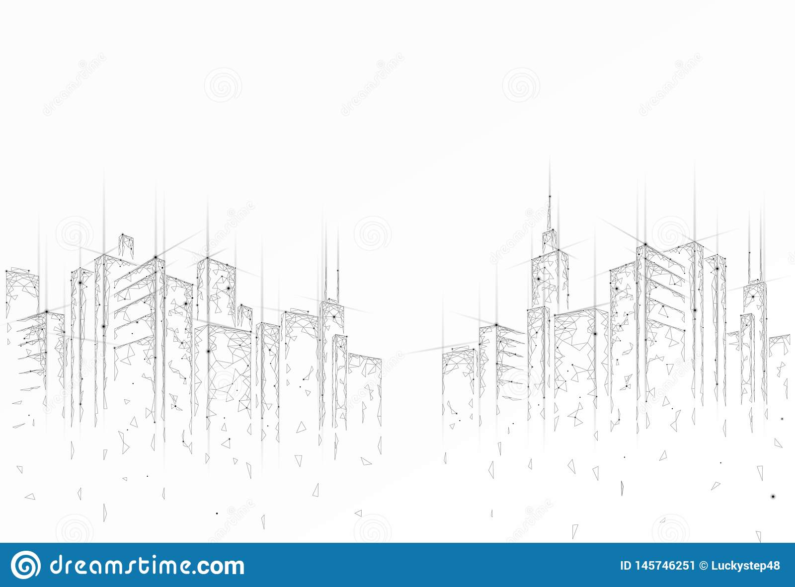 Low poly smart city 3D wire mesh. Intelligent building automation system business concept. High skyscrapers border
