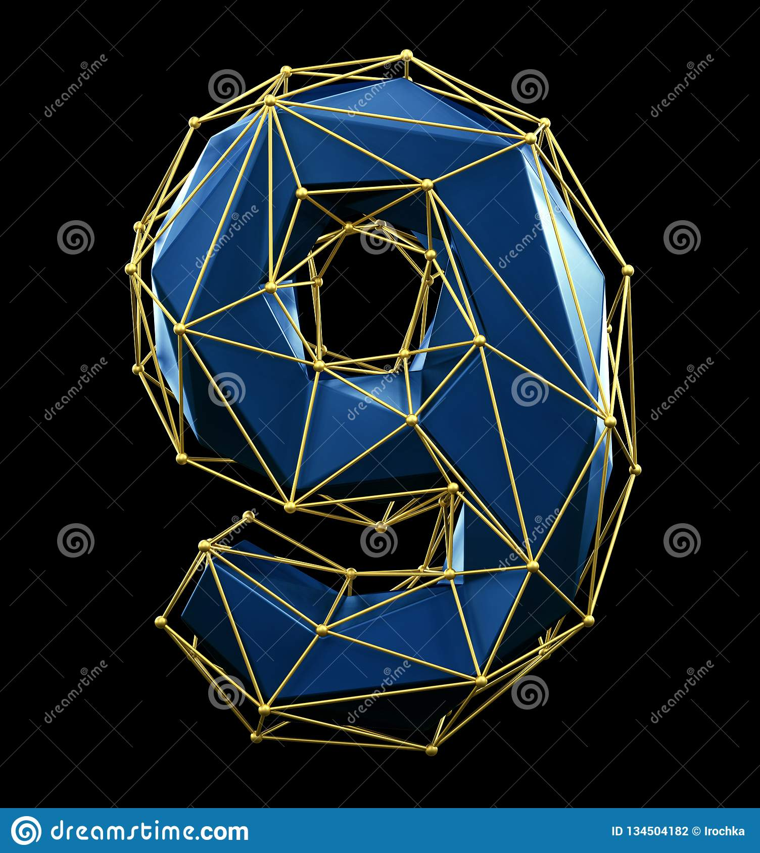 Low poly style number 9. Blue and gold color isolated on black background. 3d