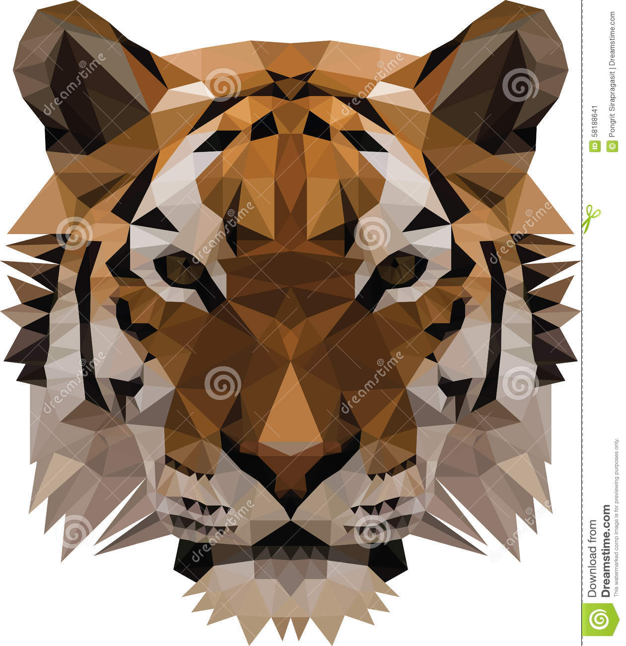 Low Poly Tiger Stock Vector