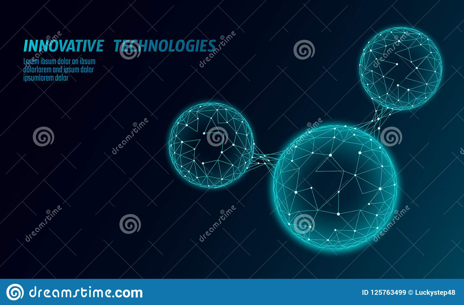 Low poly water molecule structure 3D render concept. Polygonal science research ecological technology art. Futuristic